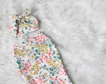 Swaddle Sack Set - Spring Poppy - Newborn cocoon infant sleeping bag