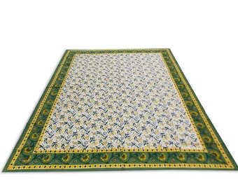 Indian Hand Block Printed Floral Design Cotton Double Bed sheet in Green Color size 90x108""
