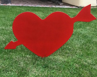 Valentines Heart W/ Arrow - 4, Valentines Decor, Lawn Decor, Valentines Lawn Decor, Metal Heart, Garden Decor Outside Valentines Heart, Love