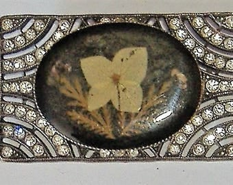 EDWARDIAN BROOCH DIAMANTE and pressed flowers