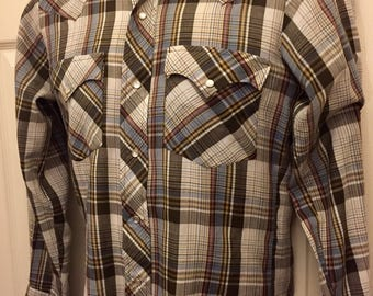 Vintage Western Plaid Pearl Snap Shirt small