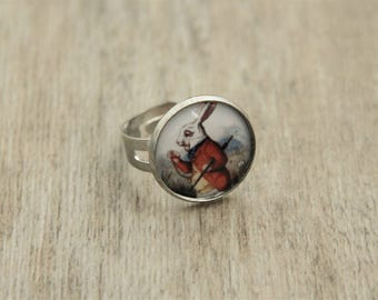 Alice in Wonderland White Rabbit Ring - Silver Plated Chunky Ring - Lewis Carroll Illustration - Alice in Wonderland Jewellery -