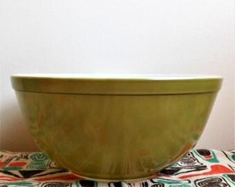 Pyrex 403 Verde Mixing Bowl , Pyrex Square Flowers 403,  Green Nesting Bowl, Spring Blossom, Crazy Daisy, Avocado Green