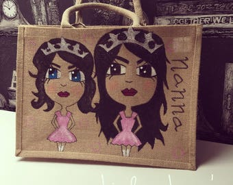 Just For Them (Two Characters) Personalised Character Jute Bag, Wonderful Gift Idea