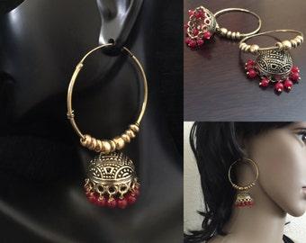 boho hoop/ hoop jhumkas/ Antique bronze finish chandelier earrings / bollywood earrings/jhumka/ tribal brass earrings/ indian jewelry/jaipur