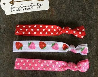 Strawberry hair tie set/favors/gifts/handmade/customize