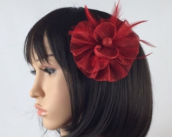 Red fascinator red hair grip hair accessory hair pin brooch corsage wedding mother of the bride bridesmaid, races