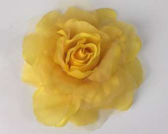 Yellow Rose Flower Corsage Brooch On Clip Hair Fascinator Hair Clip Wedding Event