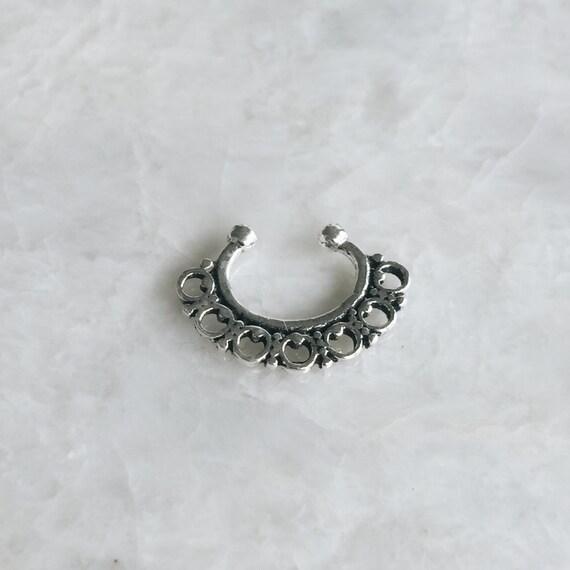 sterling silver geometric circles septum ring septum nose