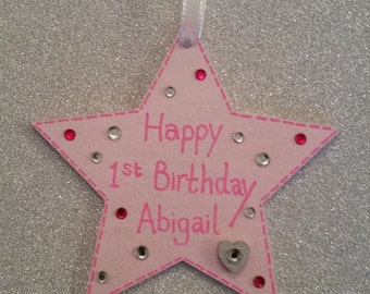 1st Birthday Wooden Star Gift