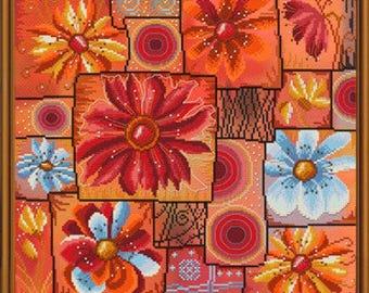 Cross Stitch Kit Flower mosaic