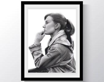 Audrey Hepburn Paris Drawing Print