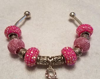 Beaded breast cancer awareness bracelets