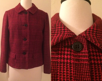 Vintage 1960s Red and Black Wool Houndstooth Plaid Coat by Majestic Unworn