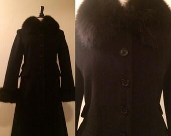 Vintage 1960s Black Wool and Black Fox Fur Single Breasted Swing Coat