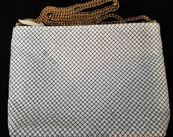 Vintage Whiting Davis White Mesh Handbag with Gold Chain Handle