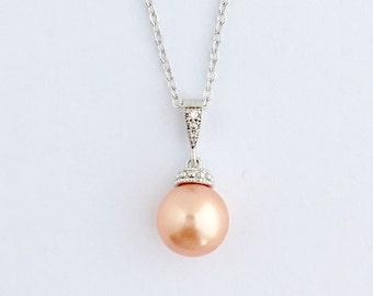 Peach Pearl Necklace Peach Bridal Pearl Necklace Peach Cubic Zirconia Necklace Rose Peach Swarovski Pearl Bridesmaid Jewelry Rose Peach