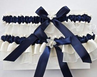 Wedding Garter Set In Navy Blue And Ivory Garters