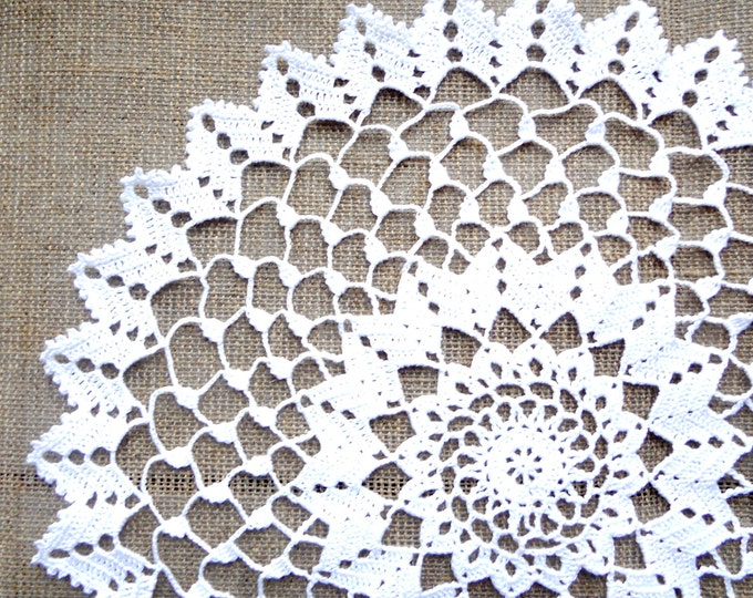 13 inch Crochet Doily, Handmade White Round Lace Doily, White Table Decoration, White Lacy Tablecloth, Gift for Her, Housewarming Gift