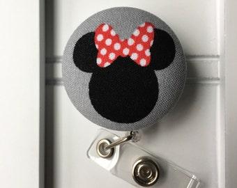 Item #131, Fabric covered, mini mouse, disney, Retractable ID Badge Holder, nurse, teacher