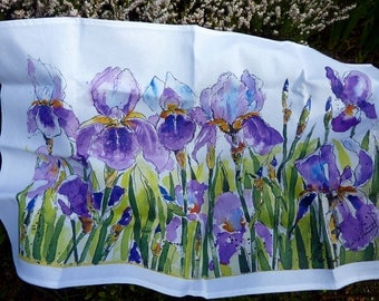 IRISES - a 100% washable cotton tea towel