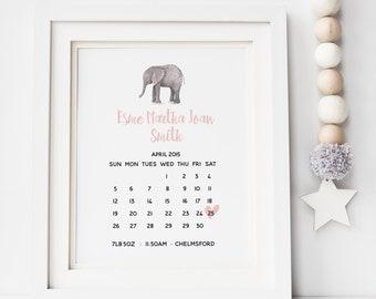 Baby Birth Date Print - Birth Calendar Print - Birth Announcement Print- Animal Birth Print - Nursery Print