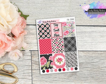 Smell the Roses Full Boxes, Planner Stickers Sized for Erin COndren Vertical Life Planner {FK-208}