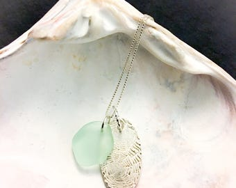 Sea Foam Green Sea Glass Handmade Fine Silver Nautilus Ammonite Shell Pendant Charm Necklace