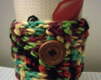 Handmade crochet multicolored basket weave coffee coozie with button