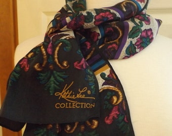 Kathie Lee Collection Floral Long Scarf, Retro Fashion, Accessory, Black/Green/Gold/Raspberry/Purple/Blue, Scarf, Shawl, Vintage Scarf