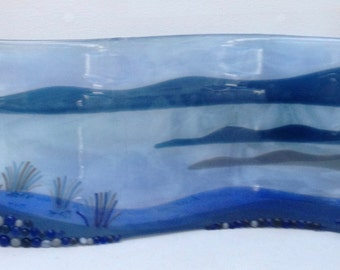 BLUE COAST freestanding fused glass curved panel