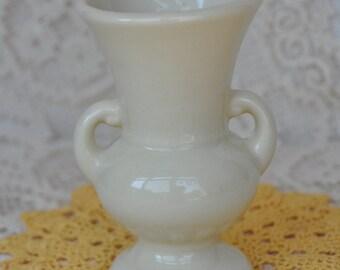 Sale! Vintage Ivory Pottery Vase - Urn Shaped Flower Vase - Unmarked - 5 inch vase
