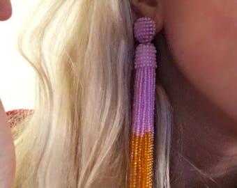 Oscar de La Renta Tassel earrings Orange earrings Pink earrings Beaded earrings  long earrings Silver earrings summer party summer outdoors