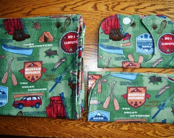 Gift Set: Camp Adventures Swaddler, Bib, Burpcloth