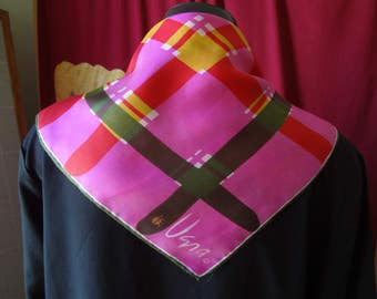 Vintage Vera Silk Scarf Red, Yellow, Green, Pink, White and Black