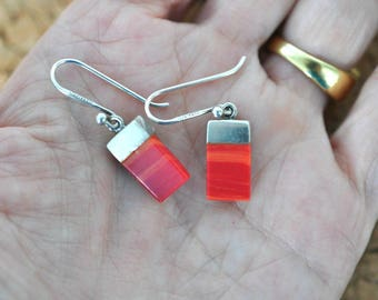 Sterling Silver Earrings, Red Turquoise, Red Earrings, Red Dangle Earrings, Sterling Earrings, Pierced Earrings, Sterling Jewelry DB16