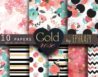 30% OFF AND MORE. Rose digital paper. Floral digital paper. Roses digital paper. Shabby chic. Rose gold. Rose gold paper. Watercolor rose.