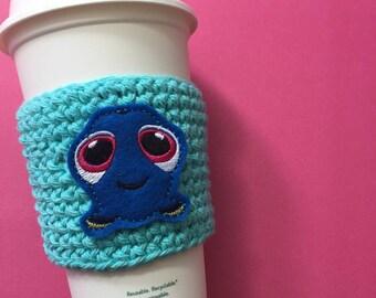 Reusable Blue Fish Coffee Cozy