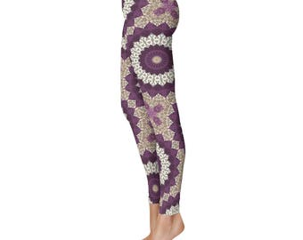 Leggings for Women With Designs - Yoga Pants, Beige Leggings, Mandala Pattern Printed Leggings