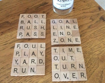 Football fan themed Scrabble coasters