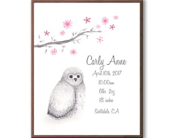 Personalized Baby Birth Stat Owl Print, New Born Watercolor Art Gift, O1001