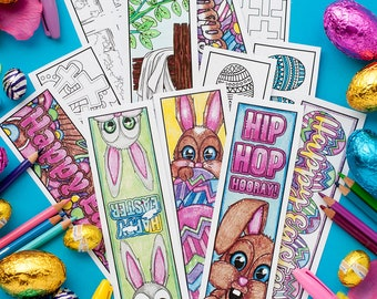Easter Coloring Bookmarks – Set of 12 Printable Bookmarks to color and make for Easter   Printable PDF coloring template for adults and kids