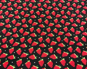 Strawberry fabric, summer fruit fabric, fruit fabric, novelty fabric, summertime, black and red fabric, strawberries