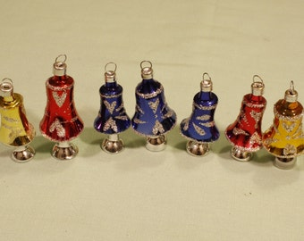 7 Vintage Glass Bell Ornaments with Silver Mica Trim