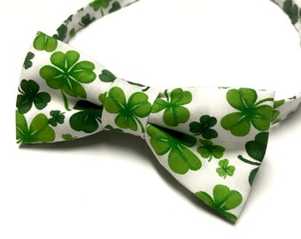 Irish Bow tie, Shamrock Bowtie, St.Patrick's Day Bowtie, Lucky Bow tie, Green Bowtie, Four leaf Clover, Green