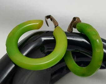 Carved Green Bakelite Hoop Earrings