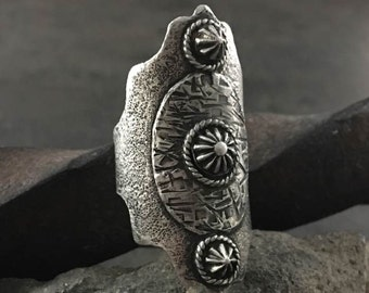 Sterling Silver Boho Shield Ring