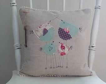 Bird cushion, bird pillow, cushion cover, linen cushion, linen pillow, applique cushion, applique pillow, handmade, gift for bird lover