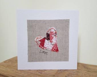 Origianl textile card, Valentines day card, heart card, love card, greeting card, textile artwork, handmade card, blank card, unique, pretty