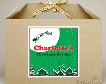 Personalised Large Christmas Eve Box, Kraft Brown with Merry Christmas Ribbon, Santa Design